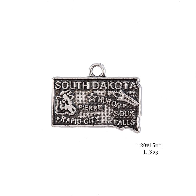 50PCS/Lots Silver South Dakota State Map Dangle Charms Jewelry 2 Style DIY Fit Bracelet Necklace