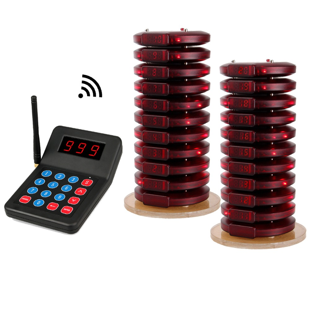 Restaurant Pager Wireless Calling System 20 Coaster Pager+1 Transmitter Pager Call System Customer Service For Fast Food F3357 цены