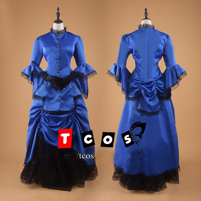 ᐅ18th century cosplay royal blue blace ball gown medieval dress ...