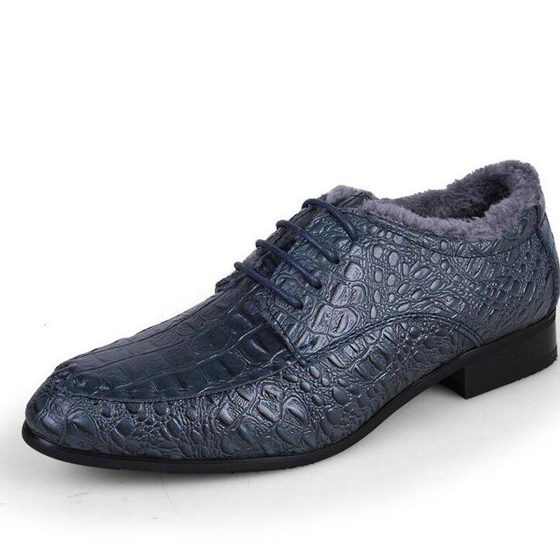 2016 Formal Business Men Casual Genuine Leather Dress Shoes Pointed Toe WinterlKeep Warm Fleece Fashion Shoes Plus Size 38-49 goodster men shoes australian alligator leather made men s shoes business formal dress shoes