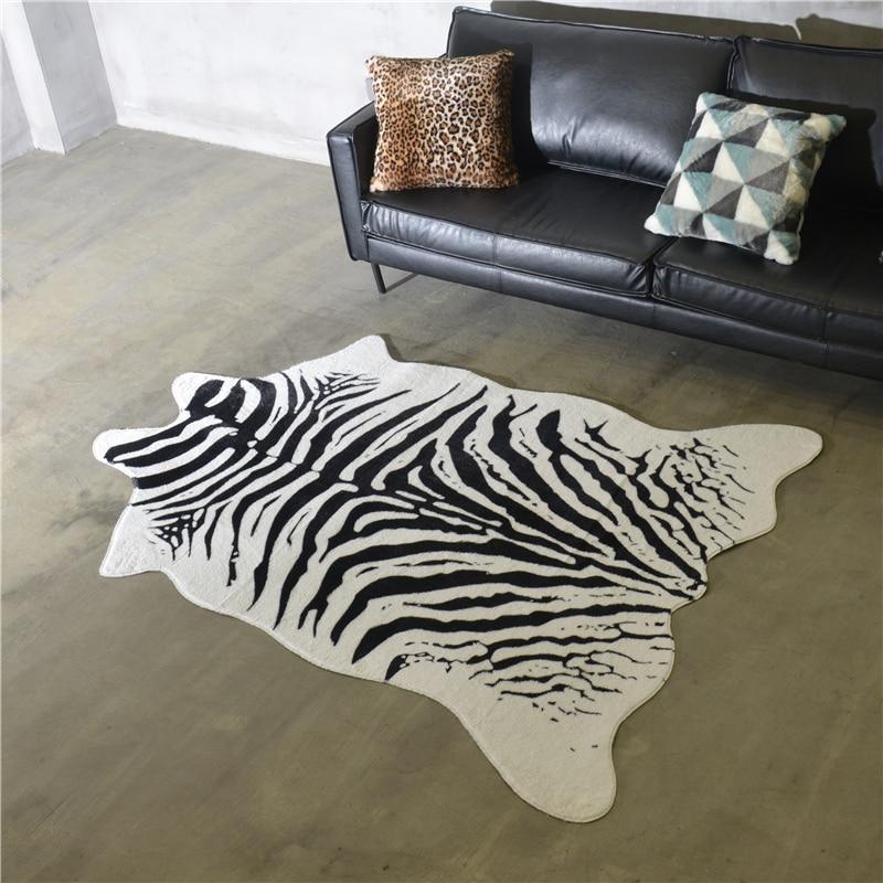 Zebra Cow Tiger Printed Carpet Velvet Imitation Leather Rugs Cowhide Animal Skins Natural Shape Carpets Large Size Carpet