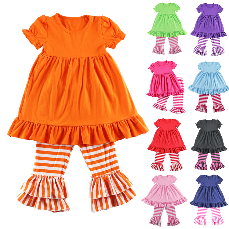 Ropa Mujer Girls New Cotton Girl Clothes Short Sleeve Ruffle Baby Dress And Pant Set Kids Legging Sets 1-6t Colors Retail 2017 new fashion kid girls clothes little girls summer short sleeve t shirt tops and cute heart striped legging pant 2pcs 1 6y