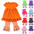 Ropa Mujer Girls New Cotton Girl Clothes Short Sleeve Ruffle Baby Dress And Pant Set Kids Legging Sets 1-6t Colors Retail
