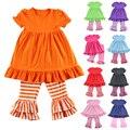Ropa Mujer Niñas Nuevo Algodón de la Muchacha Ropa de Manga Corta de La Colmena baby dress y las bragas de los cabritos legging establece 1-6 t colores venta al por menor