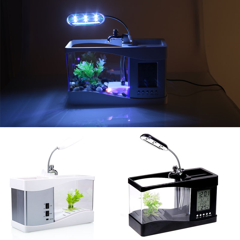 Petit Aquarium Aquarium poisson rouge mode réveil Mini Aquarium Durable calendrier perpétuel thermomètre poisson rouge bol lampe