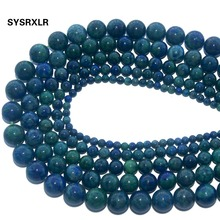 Natural Stone Chrysocolla Azurite Round Loose Beads For Jewelry Making DIY Bracelet Necklace Pick Size 4/6/8/10/12 MM Strand natural stone chrysocolla approx 14x16mm oval shape loose beads approx 39cm diy jewelry making bracelet necklace