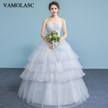VAMOLASC Pleat Strapless Tiered Lace Ball Gown Wedding Dresses Off The Shoulder Crystal Backless Bridal Gowns
