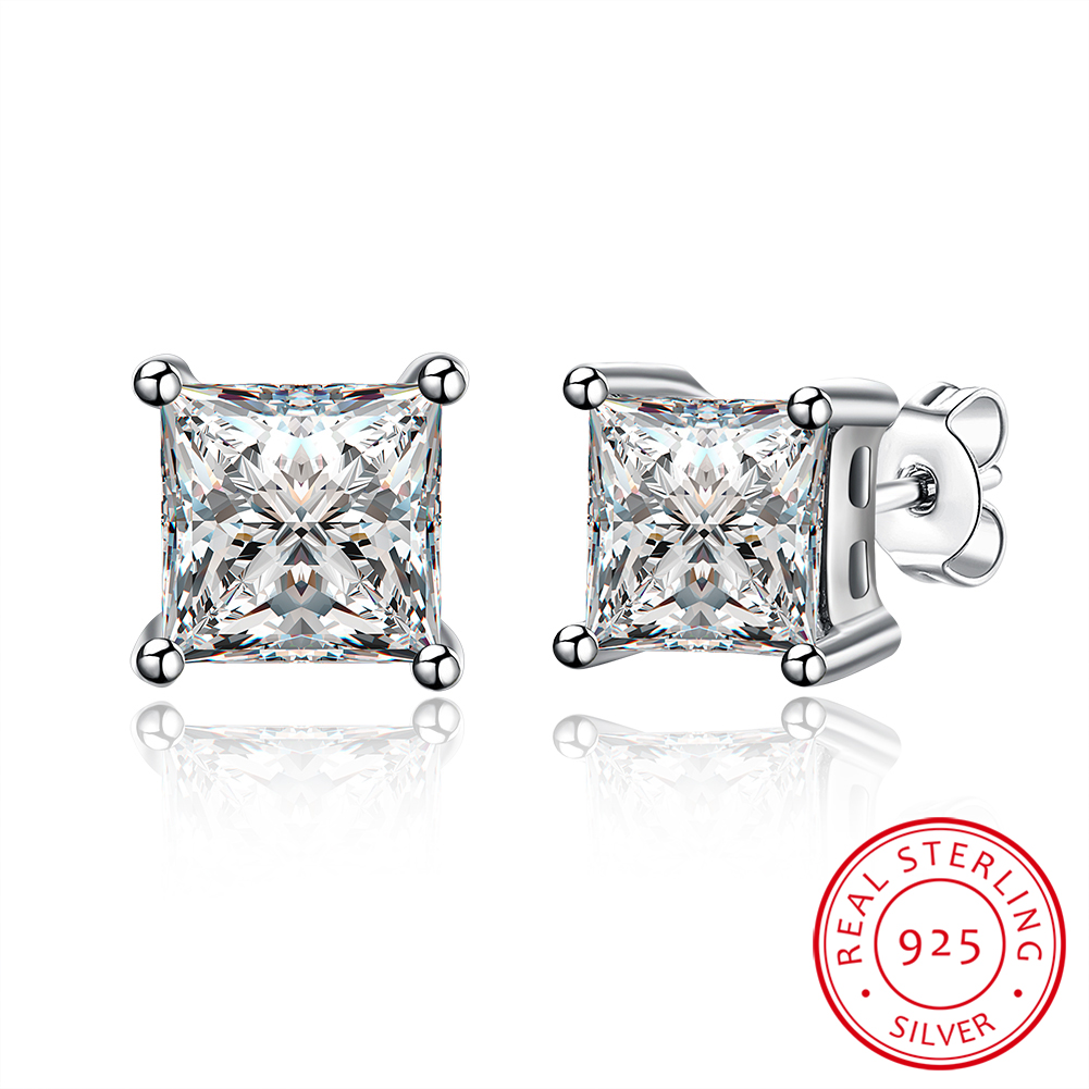 Fashion Real 925 Sterling Silver 9MM Square AAA Zircon Stud Earrings Fashion Fine Jewelry Wedding Gifts For Women