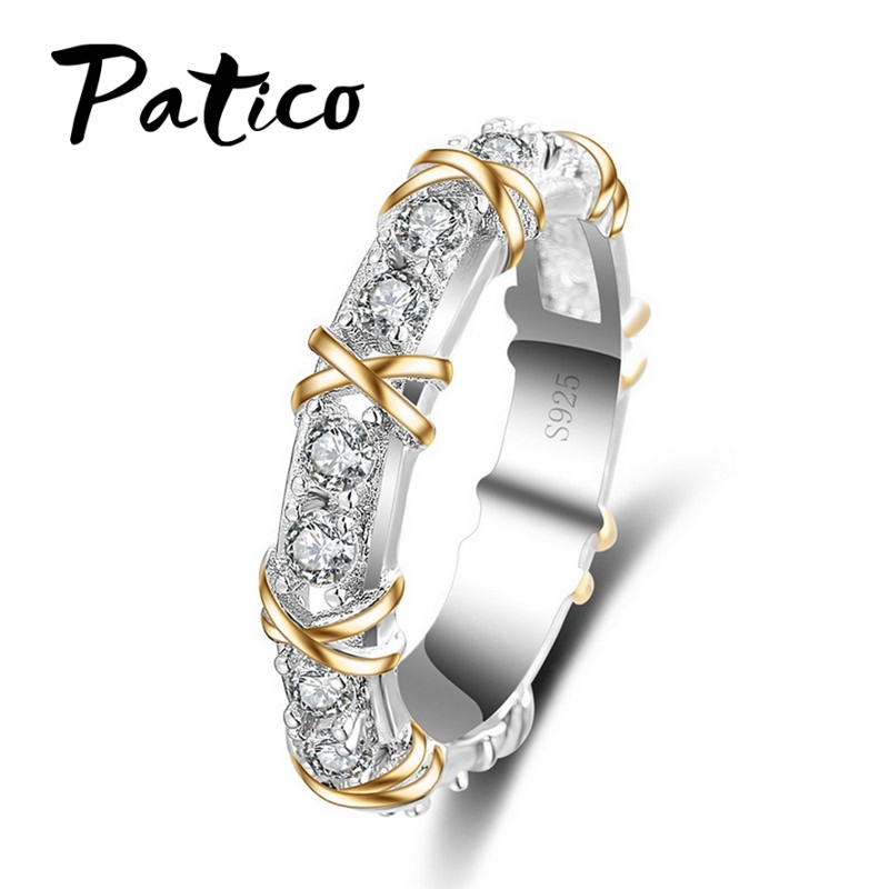 PATICO Classic X Tied S90 Sølv Fargesmykker Ring AAA Zircon Rhinestone Krystall Ring For Damer Best Lovers'Gifts