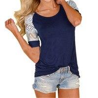 Plus Size S 5XL CELMIA Blusas Fashion Women Hollow Lace Stitching Short Sleeve T Shirt Female