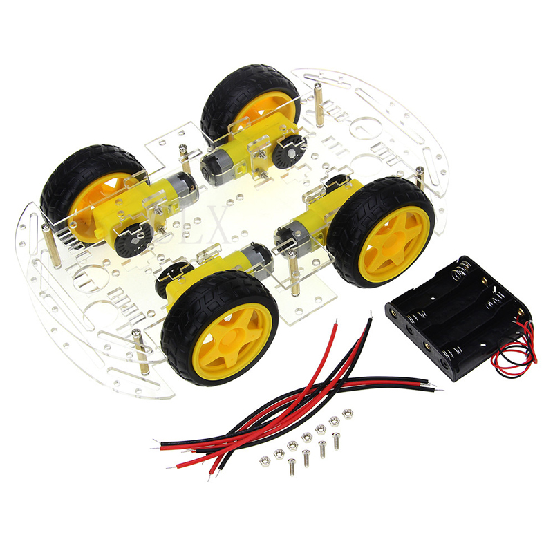 Motor Smart Robot Car Chassis DIY Kit Speed Encoder 4WD 4 Wheel Drive Car For Arduino