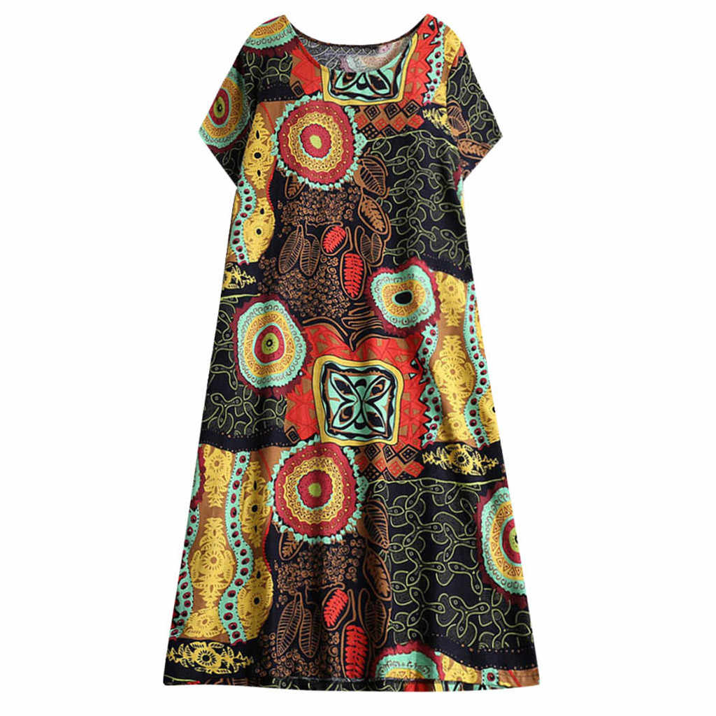 FREE OSTRICH Women Dress Hemp Cotton Retro Ethnic Print Short-sleeved Large Size Cute Refined Noble Trend Summer Short Dress