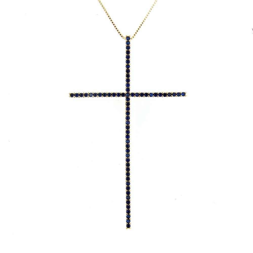 SUNSLL Gold/Silver/Black Color Copper 3 Color Cubic Zirconia  Zirconia Cross Necklaces Fashion Jewelry Gifts For Women