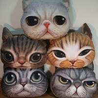 1 Pcs Five Kinds Of Expressions 33X38cm Lovely 3D Cat Kitten Face Design Throw Pillow Toy