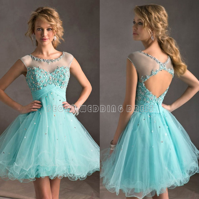 c36a40e91d Cute Crystal Short Turquoise Graduation Dress Shinning Beaded Tulle Ball  Gown Homecoming Dresses Mini Party Prom Gowns HC60-in Homecoming Dresses  from ...
