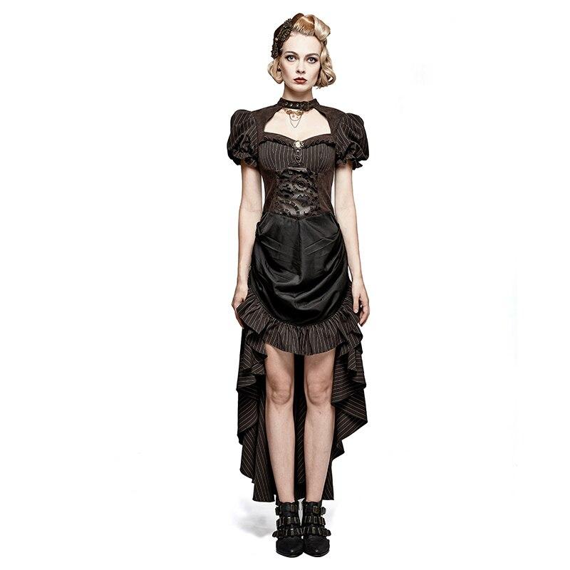 Стимпанк сгоревшее платье в форме шестерни готическое Ретро стиль корт дамское платье модные вечерние выпускные женские коричневые в полоску