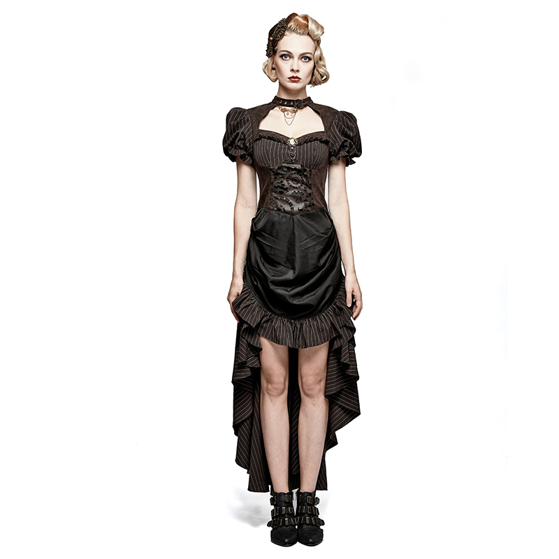 Steampunk Burn-Out Gear forme robe gothique rétro court style dames robe mode fête bal femme brun rayé