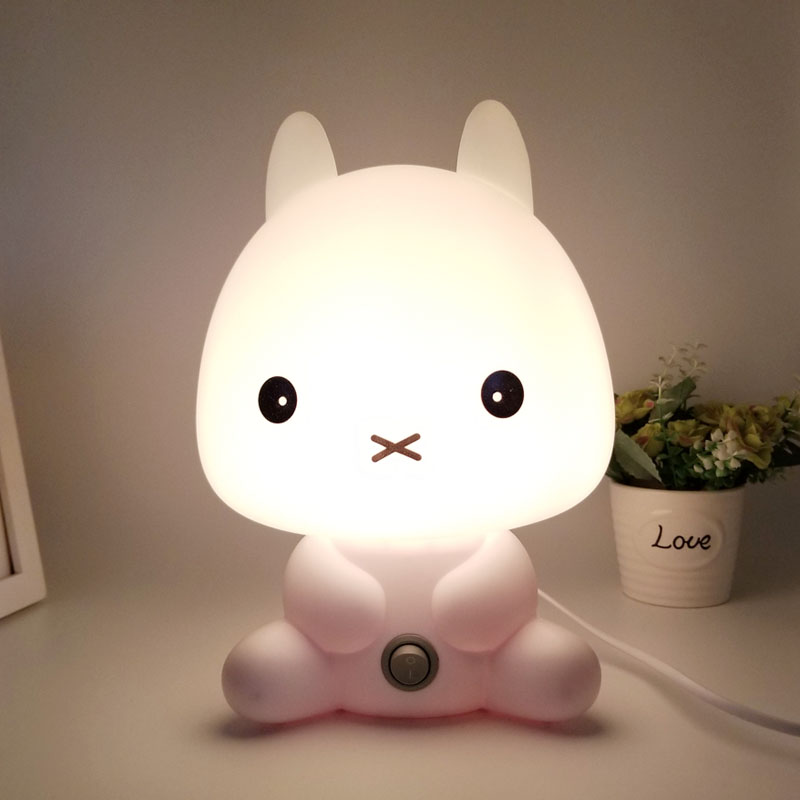Rabbit Night Light Table Desk Lamp Sleeping Bedside Lights With Bulb for Baby Christmas Gift Decoration USB/ EU plug