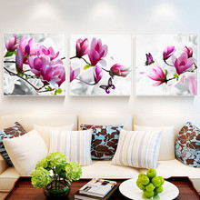 Triptych Diamond Cross Stitch Painting PeonyTulip Full Diy Embroidery  Flower Mosaic Home Decor