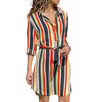Spring/summer 2019 style, striped print, long sleeves with lapel, fashionable and casual style, shirt and dress with waist band