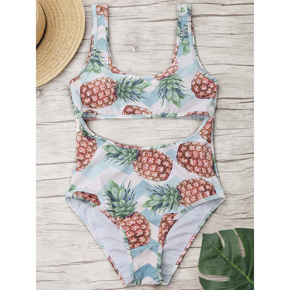 ZAFUL 2018 New Pineapple Cut Out One Piece Suit High Cut Swimsuit Summer Sexy Swimwear Bathing Suit Monokini Swimsuit Bodysuit