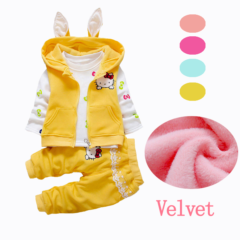 2018 New Velvet Baby Girls Clothes Sets 2pcs 3pcs Hooded Jackets Kids Clothes Toddler Girl Clothing Sets Hello Kitty Winter brand cute toddler girl clothes rainbow color sling 2 pcs baby girl clothing sets for 6m 3y free shipping