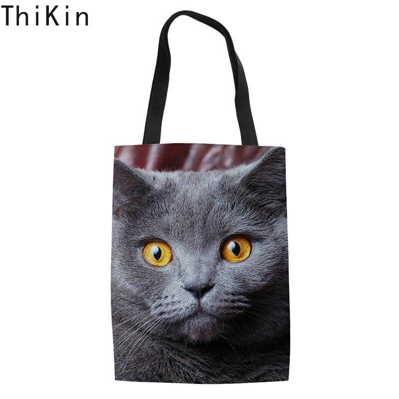 THIKIN Cute Cat Dog Print Canvas Tote Shoulder Bag For Teenage Girls Summer Beach Handbag Feminina Linen Reusable Shopping Bags