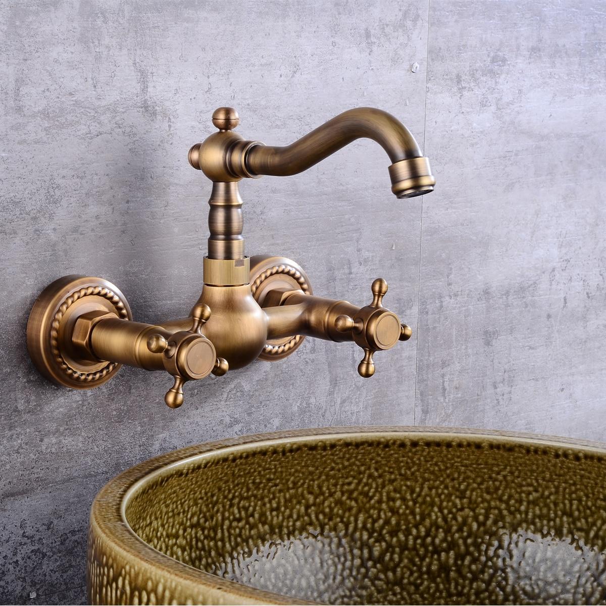 Laiton Antique 360Rotation cuisine évier robinet Torneira mur monté grue Double poignée salle de bains bassin mélangeur robinet froid et chaud