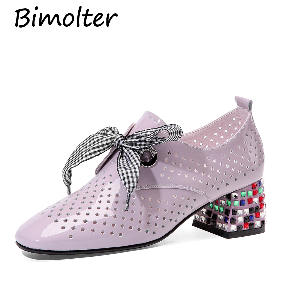 Bimolter Patent Leather Pumps Thick Heels Hallow Rhinestone Summer Shoes Colorful Rhinestone Lace-up Ribbon Square Heels NC099