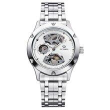 רטרו אופנה עיצוב שלד ספורט מכאני שעון גברים של עגול נירוסטה כסף בנד לבן חיוג כסף Bezel גברים שעונים