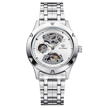 Retro Fashion Design Skeleton Sport Mechanical Watch Mens Round Stainless Steel Silver Band White Dial Silver Bezel Men Watches