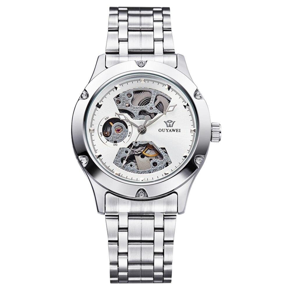 Retro Fashion Design Skeleton Sport Mechanical Watch Men's Round Stainless Steel Silver Band White Dial Silver Bezel Men Watches