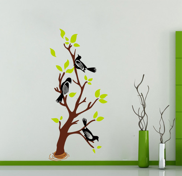 Large Elegant birds tree Wall Stickers Graceful Wall Stickers X018 Romantic Living Room Decoration