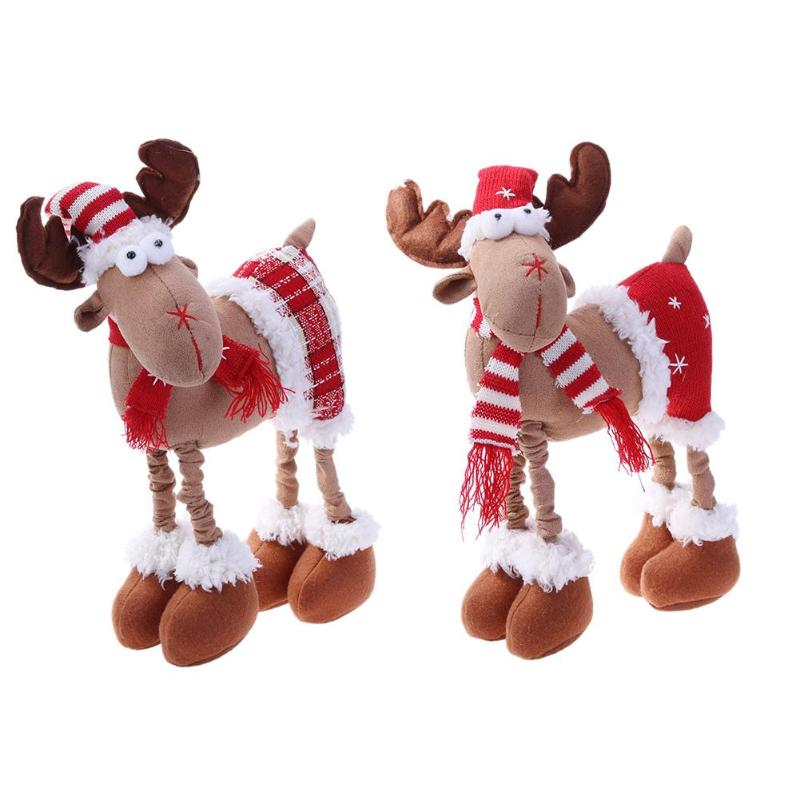 Christmas Reindeer Doll Xmas Deer Elk Party Doll Christmas Desktop Plush Reindeer Ornaments Pendant Toy Decor for home 2018