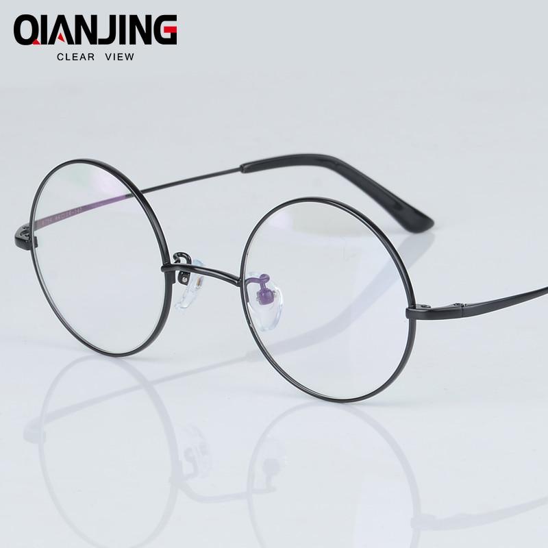 2018 QIANJING New Fashion wizard 100% pure Titanium Eyeglasses Frames Men women round Eyeglasses Gold Glasses Frames 3 Color