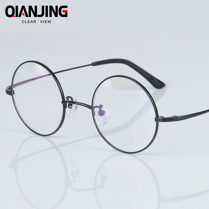 2018 QIANJING New Fashion wizard 100% pure Titanium Eyeglasses Frames Men women round Eyeglasses Gold Glasses Frames 3 Color