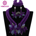 Colorful Purple African Beads Jewelry Sets Nigerian Wedding Jewelry Sets Full Beads Indian Bridal Jewelry Sets Hot ALJ112