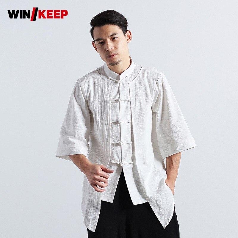 Chinois Kung Fu chemise formateur hommes coton lin respirant vêtements de sport ample hauts aile Chun Arts martiaux demi manches chemises blanc