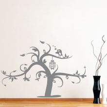 YOYOYU 40 colors Vinyl wall stickers muraux Bird On The Tree Pattern Removeable Wall Decal Livingroom Bedroom Wall Decor ZX187 quality floating dandelion pattern removeable wall stickers