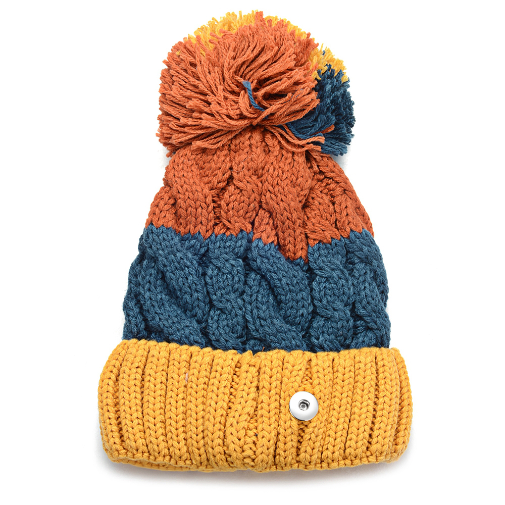 Ginger Snap Hat fit 18mm Button   Beanie   Winter Kniting Hat With Pom Pom Unisex Men Womens   Skullies     Beanies   Accessories NN-702