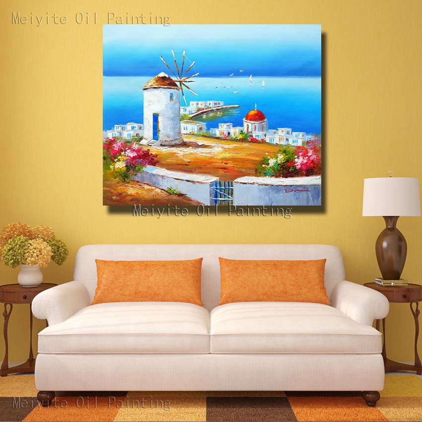 Blue Color Building By the Sea Scenery Canvas Landscape Wall Art ...
