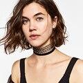 Luxo choker za colar de alta qualidade mulheres rhinestone embutidos pingente de metal líquido colar apelativo collar jóias nk11
