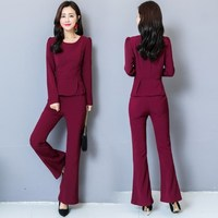 Ol Style Female Slim Fit Pants Suit Women Black Green Burgundy 2 Pieces Set Womens Office Business Casual Outfit Trouser Suits