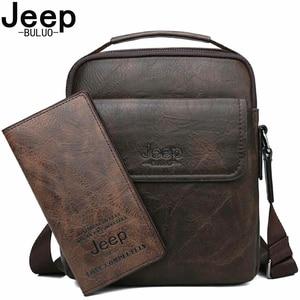 Image 1 - Jeep buluo marca de alta qualidade saco do mensageiro do homem casual split couro crossbody sacos para homens tote sacos ombro 2019 novo