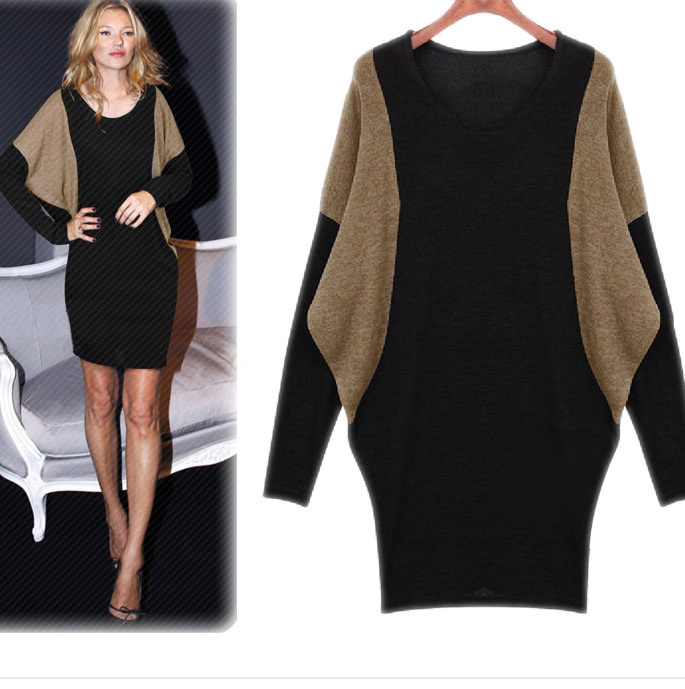 Free Shipping Black Grey Batwing Knitted Dress Long Sleeve Plus