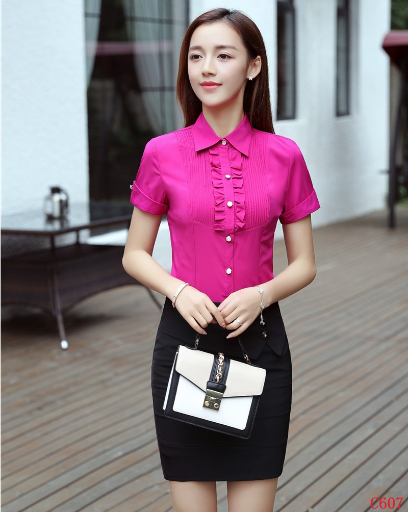 Summer Ladies Shirts Women Business Suits with Skirt and Blouses Sets Tops Short Sleeve Office Uniform Styles