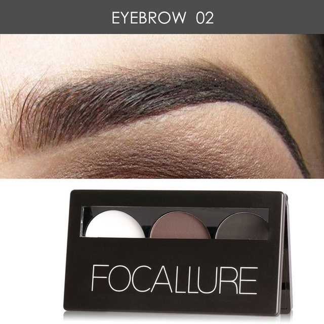 Focallure Eyebrow Powder 3 Colors Eye brow Powder Palette Waterproof and Smudge Proof With Mirror and Eyebrow Brushes Inside 2