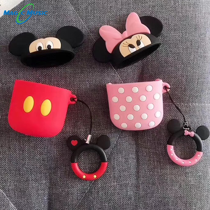 Cute Cartoon Mickey Minnie Soft Silicone Case For Apple Airpods Case Wireless Bluetooth Earphone carrying airpods case in Earphone Accessories from Consumer Electronics