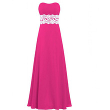 High Quality Chiffon Bridesmaid Dress Strapless Empire Waist Floor Length Long Maid of Honor Dress