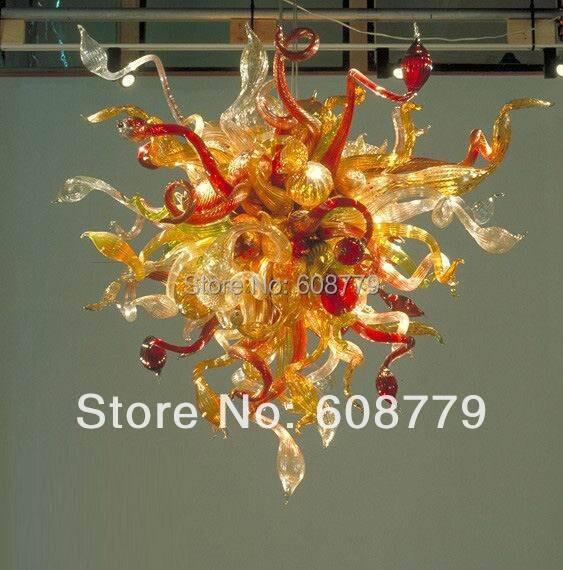 Livraison gratuite 100% moderne LED verre soufflé Foyer lustre en cristal